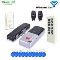 RAYKUBE nuevo inalámbrico 433Mhz Kit de Control de acceso inalámbrico eléctrico cerradura de puerta RFID teclado Control remoto botón de salida