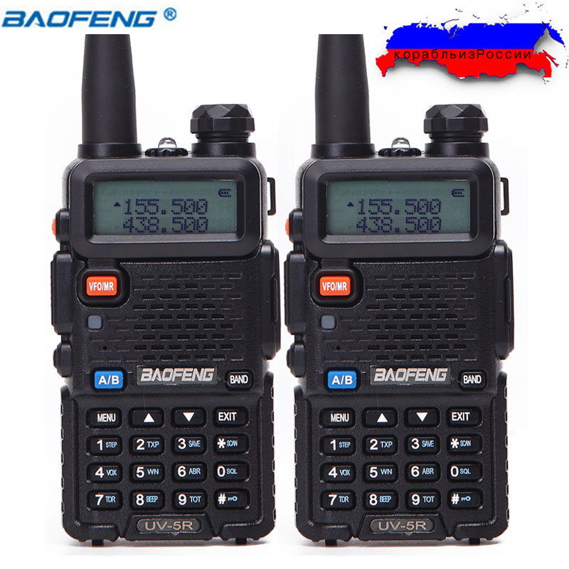 2 pcs BaoFeng UV-5R Talkie Walkie VHF/UHF136-174Mhz & 400-520 mhz Dual Band Two way radio Baofeng de poche UV5R Portable Ham Radio