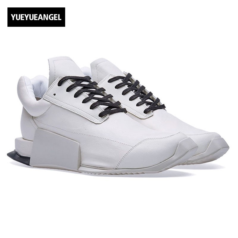 все цены на Top Brand Mens Trainers Sneakers Lace Up Light-weight Cow Real Leather Casual Shoes Joggers Outside Low Cut Footwear White Black
