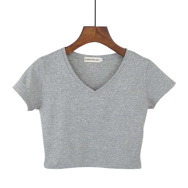 ฤดูร้อนเกาหลี V คอสั้นหญิงเสื้อยืดแขนสั้นเสื้อยืดฝ้ายสูงเอว Slim ผู้หญิงเสื้อ camiseta mujer