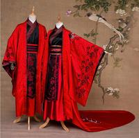 China Traditional Black Red Embroidery Costume Long Tail Wedding Dresses Chinese Anceint Wedding Hanfu Groom Bride Couple Suits