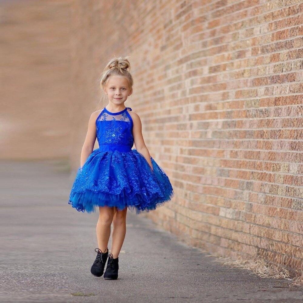 3e3a78a049d Royal Blue Short Flower Girl Dresses Organza Crystal Sequins Ball Gowns  Girls Pageant Gowns Kids Princess Girls Dress Tutu