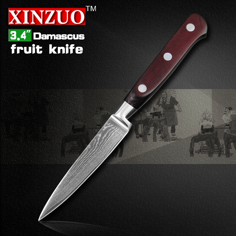3 4 inch paring font b knife b font Damascus kitchen font b knives b font
