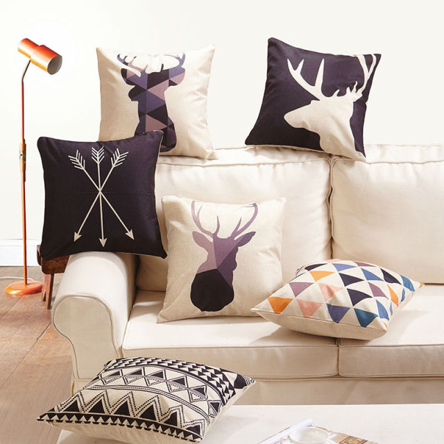 Elk Head series Square Cushion Cover Linen Cotton Fabric 17.7″ sofa Decorative pillowcase