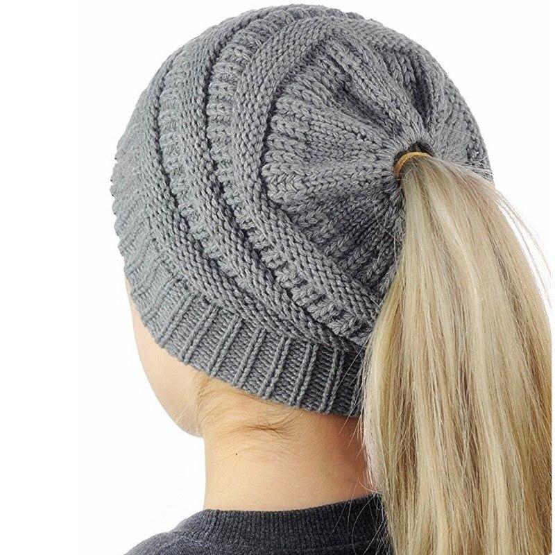 1 Ps Warme Solide Einfache Frauen Chaotisch Hohe Brötchen Pferdeschwanz Stretchy Stricken Beanie Schädel Winter Warme Hut