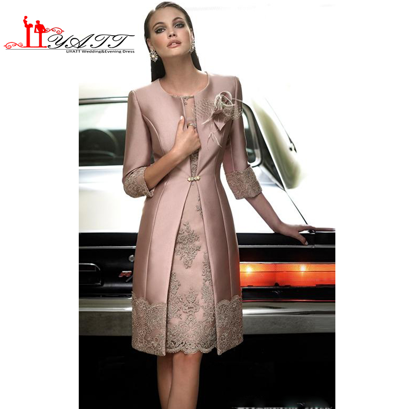 cb40e31f8b4 Wedding Guest Dresses 2016 Mothers Suit Dusty Pink Mother of the Bride  Suits Long Jacket Appliques Lace Two Pieces Tea Length-in Mother of the  Bride Dresses ...