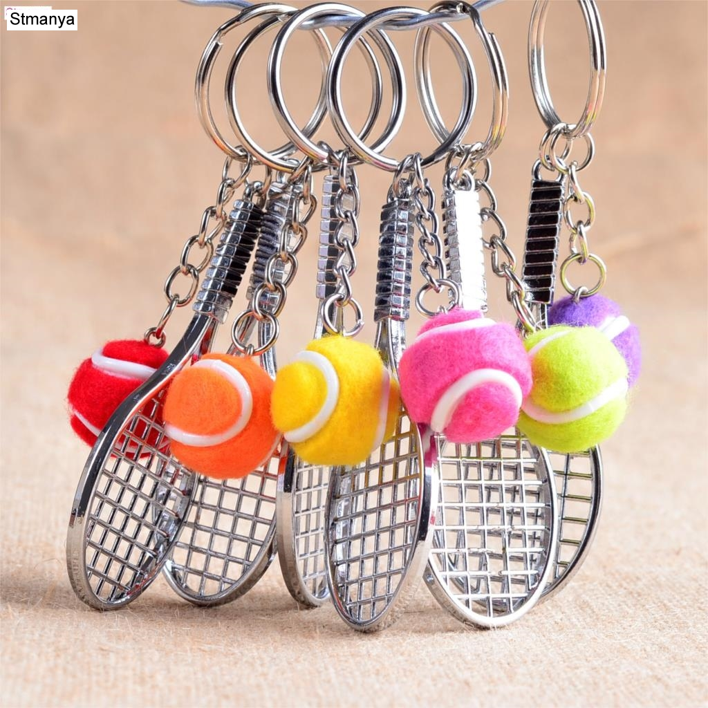 Tennis Racket Keychain - Cute Sport Mini Keychain car 6 color Pendant Keyring Sports Key Chain Who love sports Gifts 17248 mini motorcycle helmet keychain cute keyring