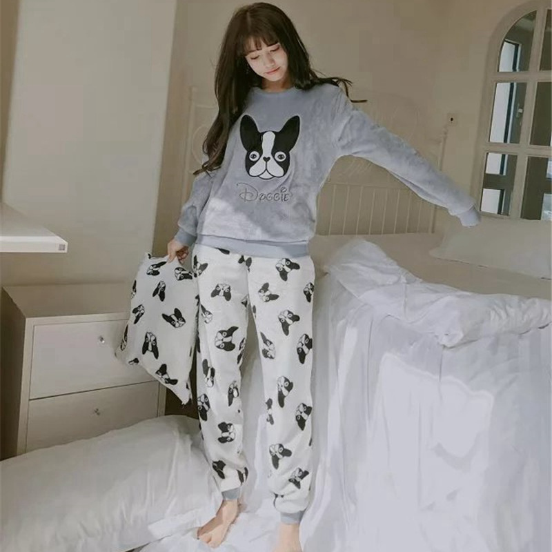 2 PIECE Velvet Pajama Set Home Suit Dog Nightwear Home Wear Women Lingerie Winter Warm Pyjama Autumn Animal