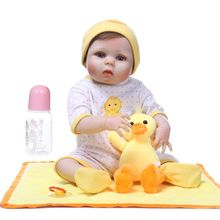22inch Reborn Doll Realistic Soft Full Silicone Vinyl Newborn Babies Toy Girl Princess Clothes Duck Pacifier Lifelike Handmade 22inch full silicone newborn lifelike baby doll polka dot skirt bow headband hot pink deer toy early childhood oct31