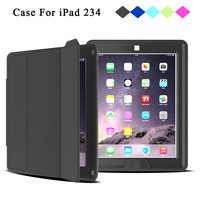 Redlai Case For IPad 234 Shockproof Full Protect Magnetic Lining Smart Cover For Apple IPad 2