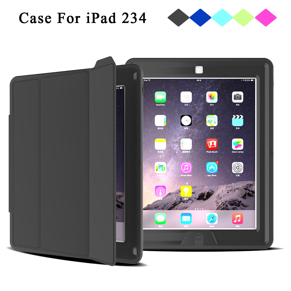 Redlai Case For iPad 234 Shockproof Full Protect Magnetic Lining Smart Cover For Apple iPad 2/3/4 Soft Rubber Back Cover ocube colorful candy tpu rubber silicone protect skin back case cover for apple ipad mini 1 2 3 7 9tablet