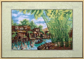 Finnished silk yarn needle stitch embroidery decorative painting / Landscape / Hotel Office Restaurant Wall art pictures