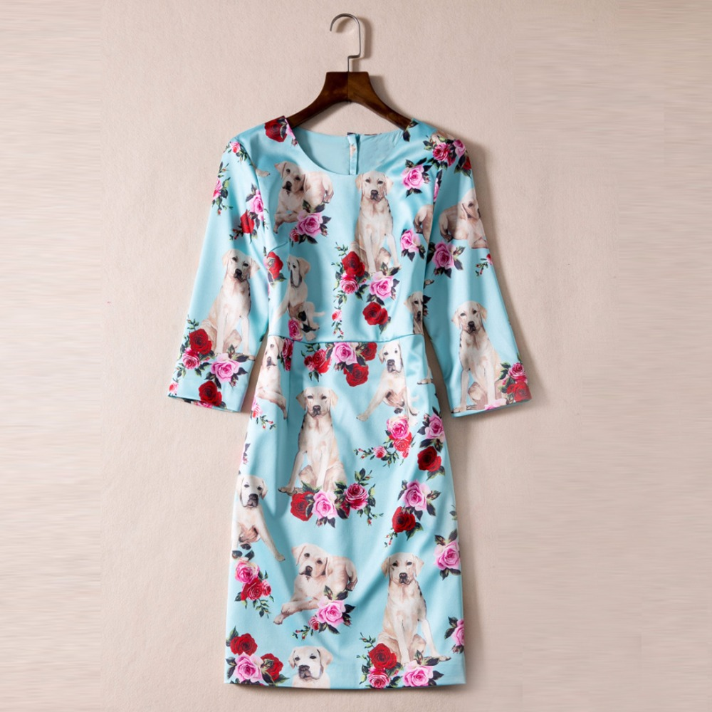 2017 New Arrival Autumn Dogs And Flowers Print Floral Dress High Quality European Pretty Fashion Half Sleeve Slim Dress