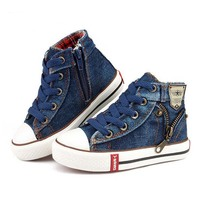 Children Boys Girls Canvas Shoes Bule Red Lace Up Solid Anti Slippery Sneakers For Sports Casual