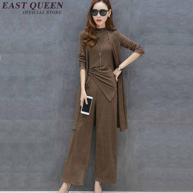 b19101b673ffc New autumn pantsuit elegant pantsuit women solid color pant suit long  sleeve cardigan womens 3 piece pant suit AA2822 YQ