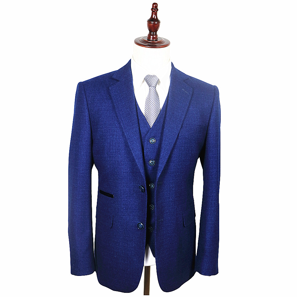 Tailored royal navy blue groom mens wedding suits for men for Custom suits and shirts