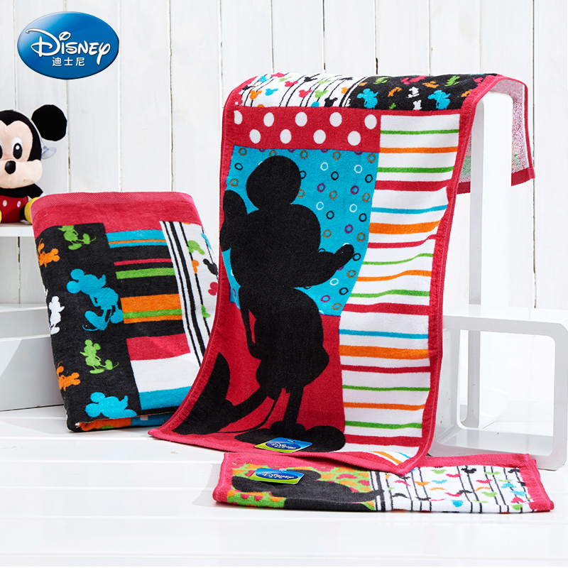 Disney 35*70CM Mickey Cartoon Wash Towel Boy Girl Gauze Children Towel Cotton Ice Romance Wash Towel