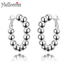 Silver Color Hoop Earrings for Women 6 MM Buddha Beads Earring Piercing Ear Cuff 925 Jewelry Brincos Feminino Hellomiss