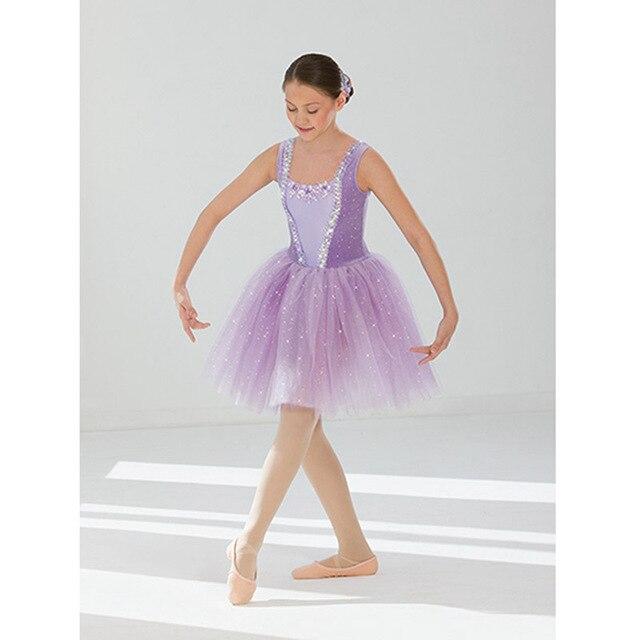 Lange Violet Romantische Glänzende Rock Ballett Kleid dChQrts