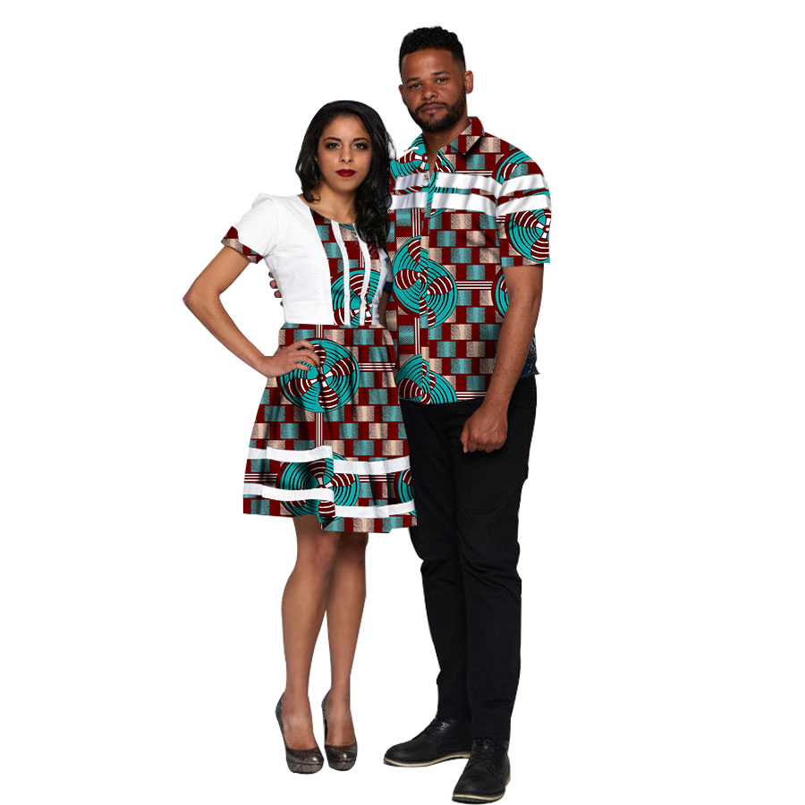US $59.99 25% OFF|African Couple Outfit Women Dresses+Men Shirts Ankara Outfit for Couples Fashion Couple's Prom Outfits Africa Clothing Custom|africa