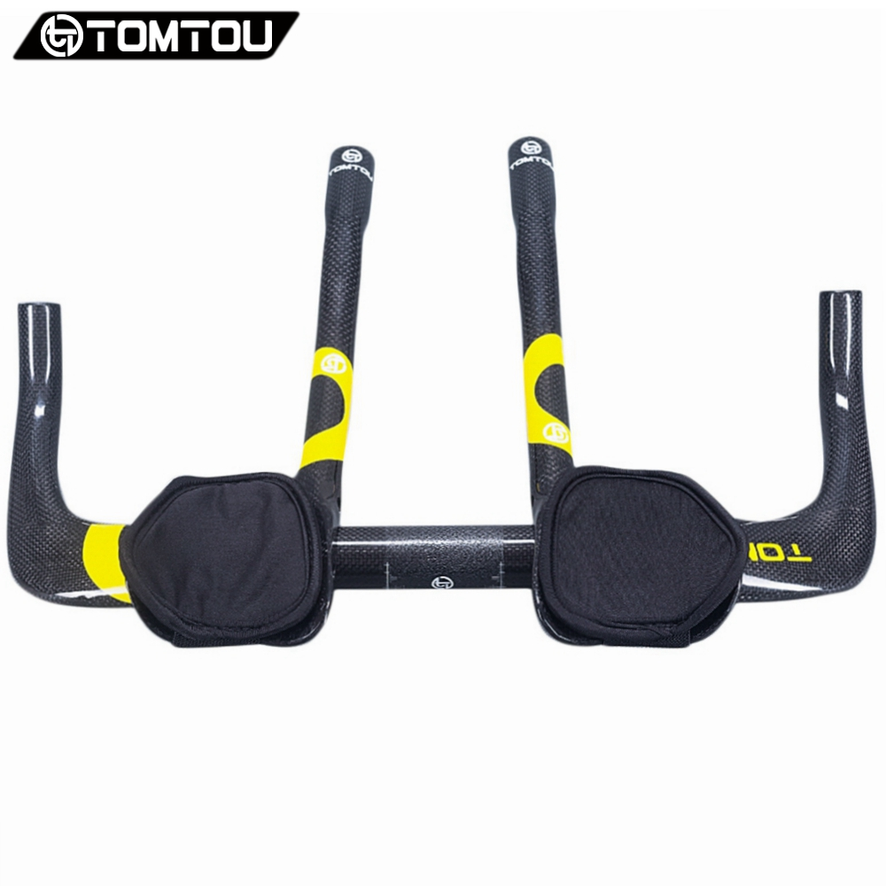 цена на TOMTOU Carbon TT Bike Rest Bar 340mm TT Handlebar 380/400/420/440/460mm for Time Trial Triathlon Bicycle 31.8mm Yellow - TC5T26