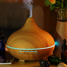 300ML remote control Air Humidifier Essential Oil Diffuser Wood Grain 7 Color Changing LED Light Electric