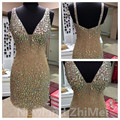 Sexy Champagne Mini Cocktail Dress Vintage V Neck Backless Short Rhinestones Tulle Women Party Gowns vestido corto coctel