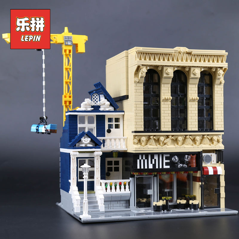Lepin 15035 MOC City Building The Bars and Financial Companies Set Model Building Kits Blocks Bricks Legoinglys Children Toys a toy a dream lepin 15008 2462pcs city street creator green grocer model building kits blocks bricks compatible 10185