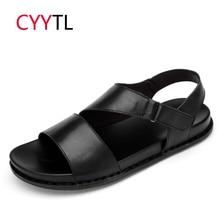 CYYTL Brand Leather Men Sandals 2019 Summer Shoes Roman Slippers Outdoor Male Sneakers Beach Flip Flops Water Sandalias Hombre