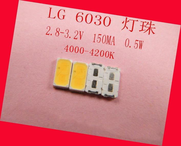 SMD LED Lamp Beads LG 6030 0.5W 2.8-3.2v 150MA 4000-4500K  Nature White For LG TV Backlight, Spotlights, Ceiling Lamp Bulb Lamp