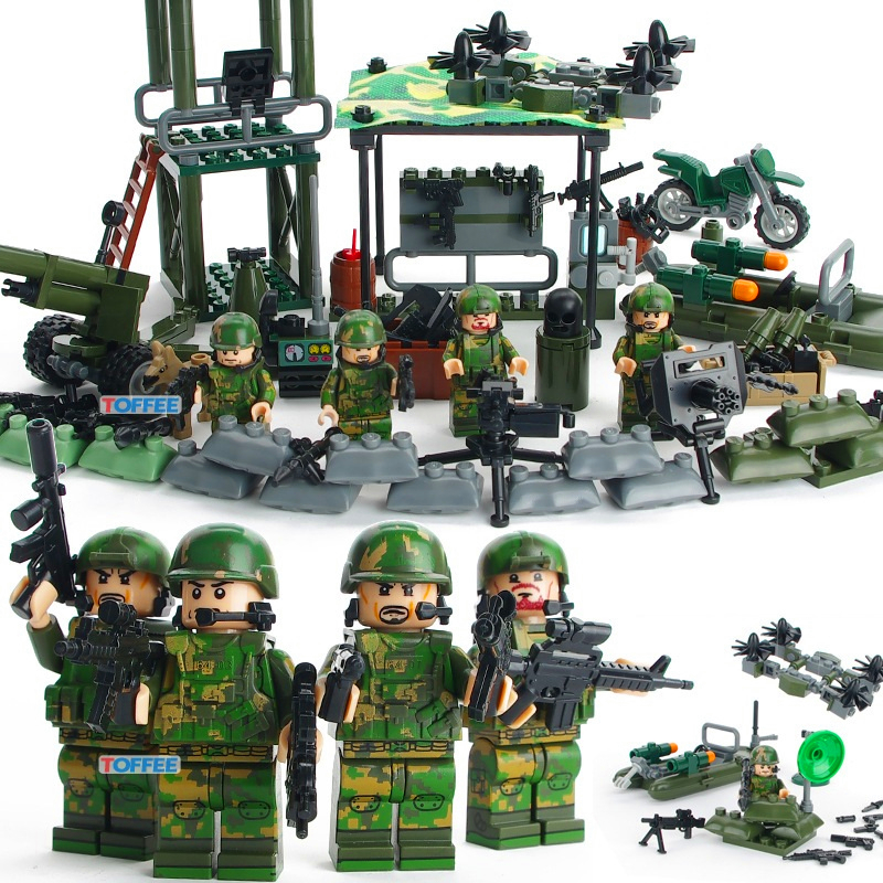 Image 2 - GUDI 8009 4 In 1 Military Firewar UAV Boat Outpos Soldier Lookout Dog Building Blocks Brick Set Compatible Playmobil Toys-in Blocks from Toys & Hobbies