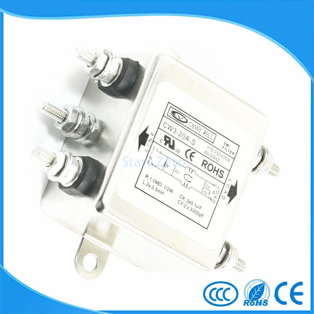 20A CW3-20A-S Noise Suppressor Power EMI Filter AC 115/250V