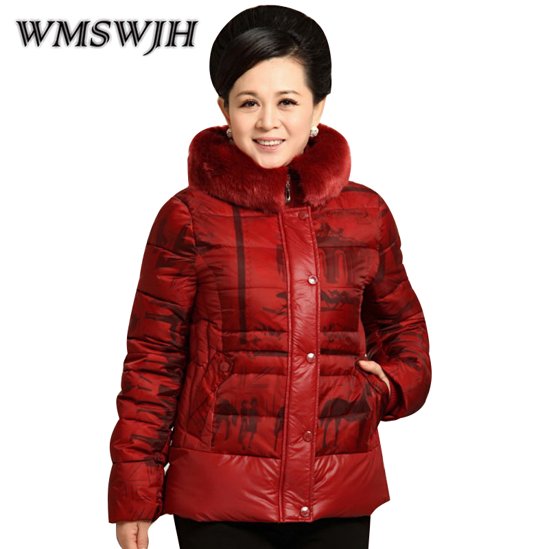 Middle-aged Women Jacket Winter Coat 2017 New Elegant Fur Collar Printing Mother Short Jacket Large Size Slim Lady Cotton Coat new brand women s middle aged and old long down jacket female bigger sizes mother fur collar clothing winter coat printing hot