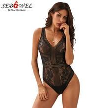 SEBOWEL Black Floral Lace Backless Bodysuits Woman Summer Female Mesh Deep V-neck Open Back Hollow Out Body Top Clothes Bodysuit black deep v neck backless bodysuit