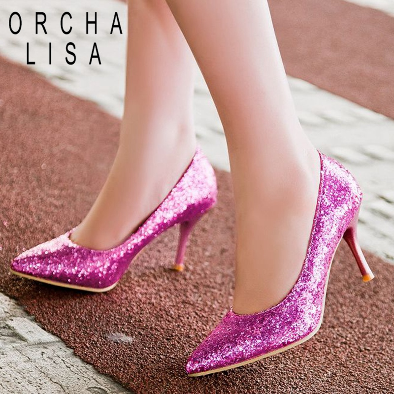 ORCHA LISA 8cm Bling Pumps Women High Heels Gold Silver Pointed Toe Wedding Party Shoes Ladies Stiletto Heels Plus Size 45 44