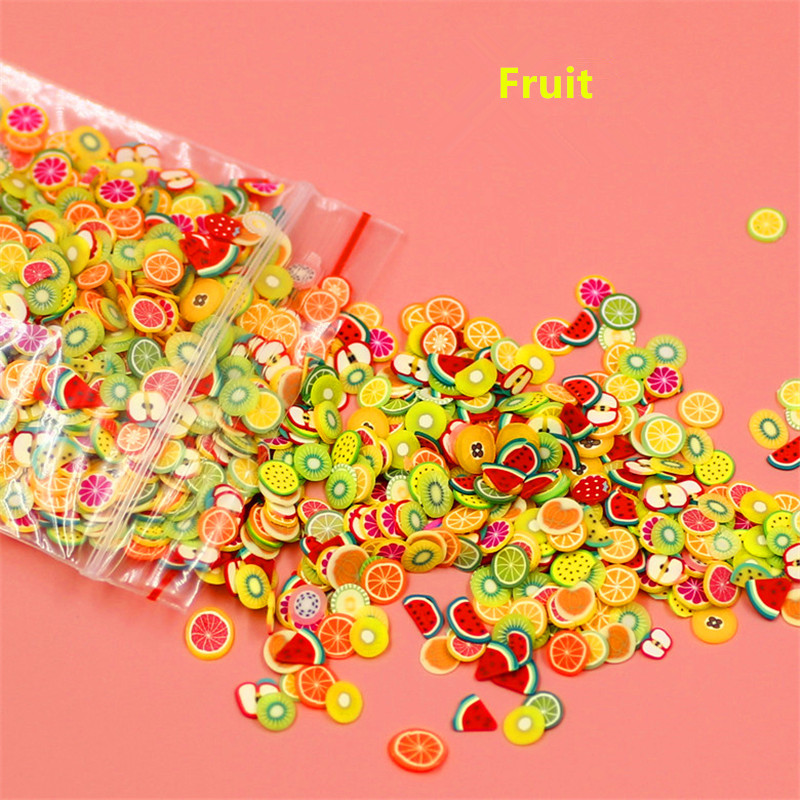 New 1000pcs/pack Nail Art 3D Fruit Fimo Slices Polymer Clay DIY Slice Decoration Nail Sticker Mixed Stype for Choice 10pcs pack 2mm mix colors rolls metallic adhesive striping tape wide line diy nail art tips strip sticker decal decoration kit