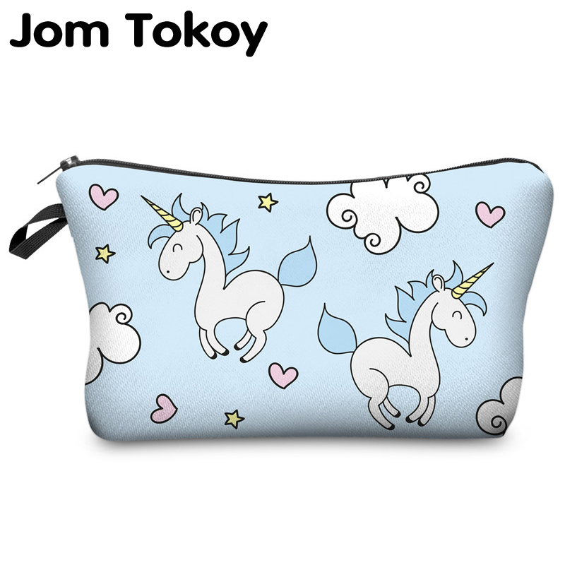 Jom Tokoy 3D Printing Unicorn Cosmetic Bag Multicolor Pattern Cute Cosmetics Pouchs For Travel Ladies Pouch Women Makeup Bags