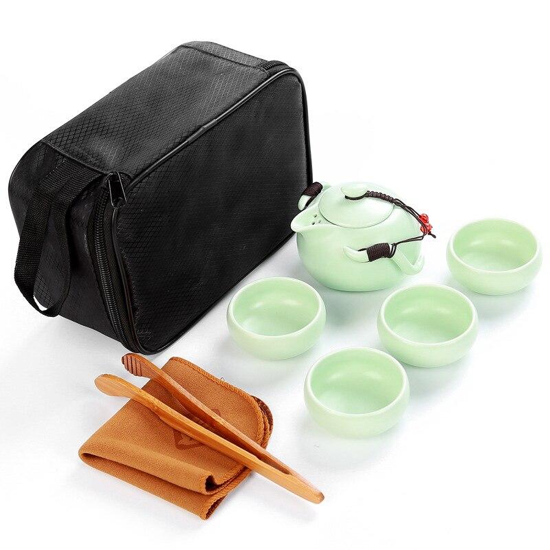 Portable travel tea set,1 pot+4 cups+1 towel+1 clip,beautiful Kungfu tea set,ceramic tea pot,for Chinese tea,shu puer,cha,gifts