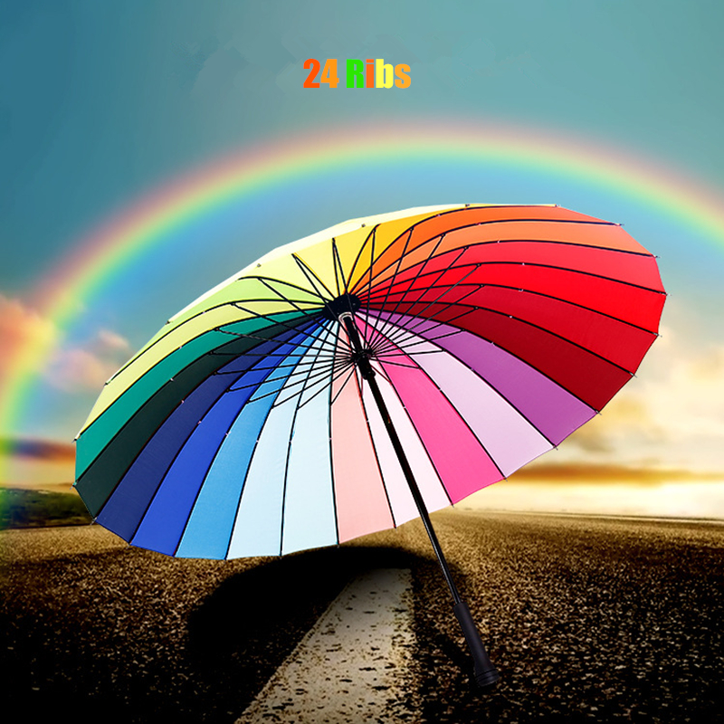 24 Ribs Rainbow Colorful Big Long Straight Handle Women Rainy Sunny Umbrella Windproof High Quality Car Golf Beach Fishing Gift