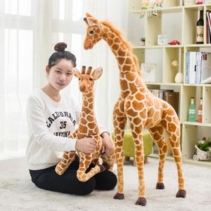 Image 2 - Enorme vita reale giraffa giocattoli di peluche bambole di peluche carine simulazione morbida giraffa bambola regalo di compleanno giocattolo per bambini arredamento camera da letto