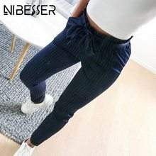 FREE SHIPPING  Casual Striped High Waist Elastic Trousers Bow Tie Stretch JKP935