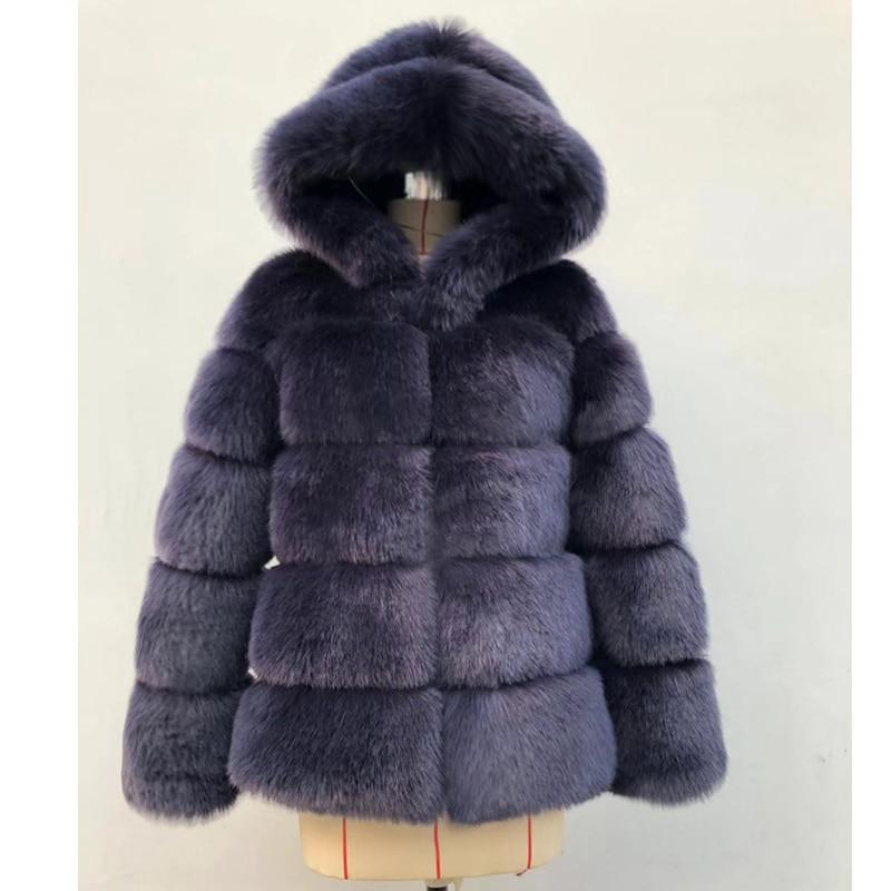ZADORIN Winter Thick Warm Faux Fur Coat Women Plus Size Hooded Long Sleeve Faux Fur Jacket