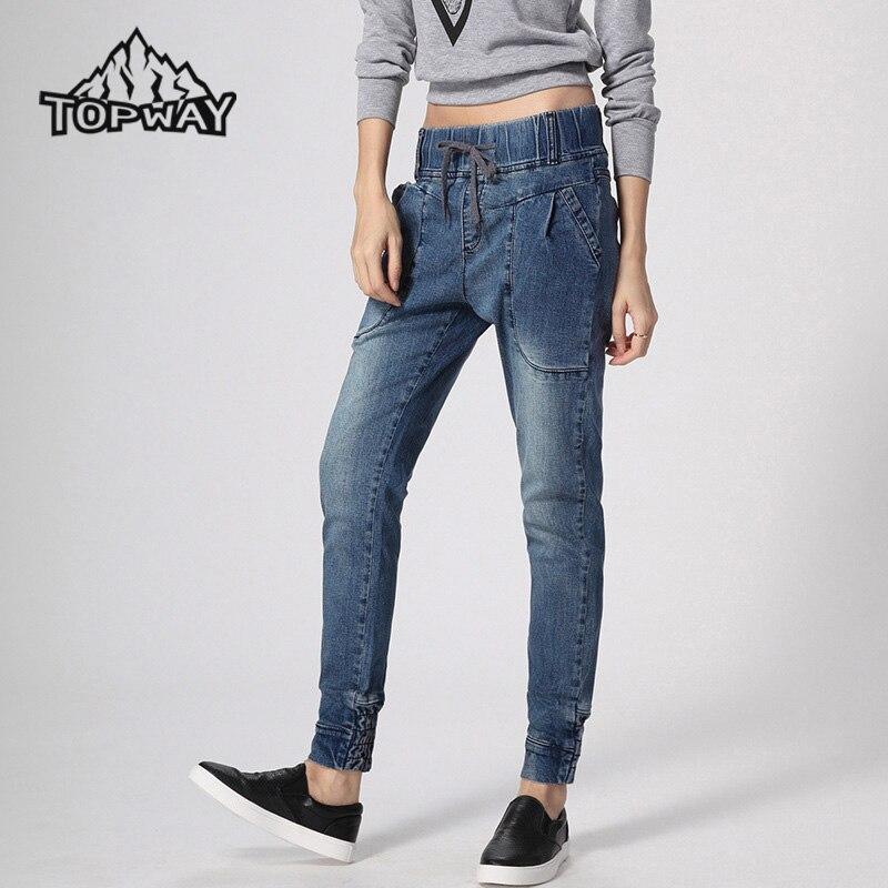 b169850495902 Alta calidad Pantalones Vaqueros Mujer Loose Harem Denim Jeans Mujer Anti  desgaste cordón mujeres Pantalones medio Pantalones de cintura en  Pantalones ...