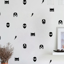 Superhero Mask Wall Stickers Kids Boy Bedroom Decor , Batman Superman Ironman Flash Captain America Vinyl Art Wall Decals(China)