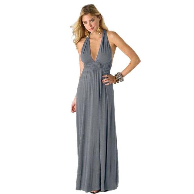 dd8704b6f6eb Boho maxi dress long gray summer halter loose womens summer dresses 2015  summer gray floor length loose beach dresses ZF612