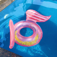 INS HOT Rose Gold Angel Wings Inflatable Swimming Ring Pool Floating Lounger Water Party Toy Ride on Glitter Butterfly Swim Ring