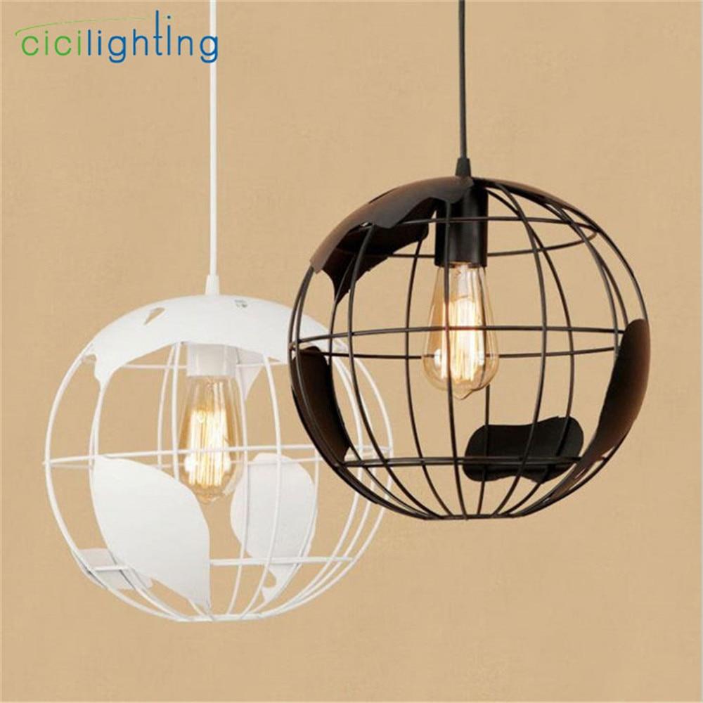 Retro D30cm Black White LED Globe pendant light Vintage Metal Ball led ceiling luminaires suspendus kids children bedroom lamp nowodvorski ball black white iii zwis