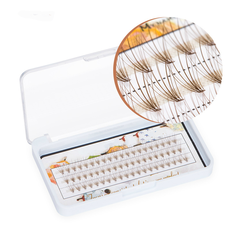 60 PCS/Set Colorful Soft Individual False Eyelash Cluster Faux Lashes Extension Brown Natural Eyelash 8mm/10mm/12mm