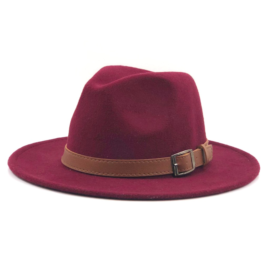 gmslxy Wide Brim Wool Fedora Hat Winter Autumn Jazz Church Godfather Sombrero Caps Size 56-58 for Women Men
