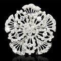 Aleación de plata de calidad superior cristalino de Austria cristales gran flor broche de traje banquete de boda regalo de lujo de la joyería